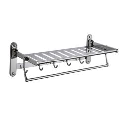 60X24X17CM STAINLESS STEEL FOLDABLE TOWEL RACK WITH HOOK 7133