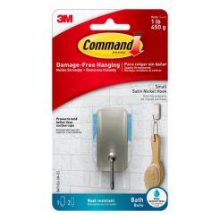 3M COMMAND SMALL SATIN NICKEL HOOK