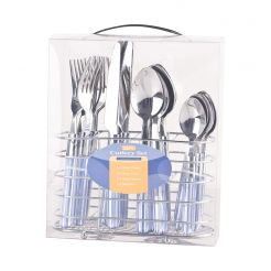 STAINLESS STEEL CUTLERY SET 24 PCS BLUE HANDLE