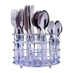 STAINLESS STEEL CUTLERY SET 24 PCS CLEAR HANDLE